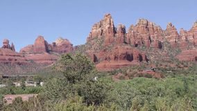 Arizona, Sedona, A zoom out from a large red rock formation in east Sedona