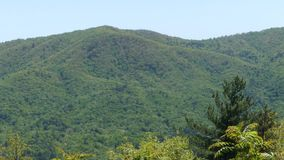 Georgia fort mountain, zoom out from a mountain at the overlook on the way to fort mountain. Zoom out from a mountain at the overlook on the way to fort mountain stock video footage