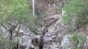 Zoom out in a now dry waterfall, West Ithaca Creek gully. stock video