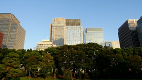 Zoom Out of Office Buildings Surrounded by Trees in Central Tokyo Japan stock video