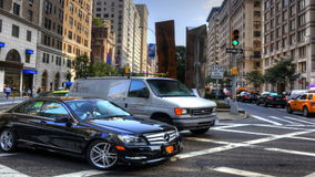 Zoom out of the daily rush of traffic in Manhattan stock video