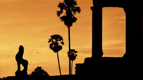 Zoom Out - Silhouette of Main Temple Entrance at Sunrise - Angkor Wat, Cambodia stock video footage