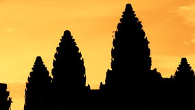 Zoom out of Silhouettes of Main Temple Spires at Sunrise - Angkor Wat, Cambodia stock video footage
