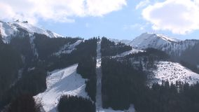 Zoom out from a ski lift in Austria stock video