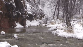Zoom Out of a Stream in Winter stock video footage