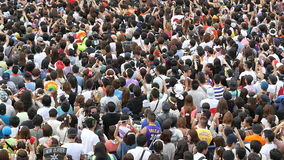 Zoom Out Time Lapse of Large Crowd at Electronic Music Festival Tokyo Japan stock footage