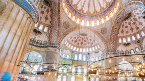 Zoom out timelapse of the blue mosque interior or sultanahmet indoors in Istanbul city in Turkey. Zoom out timelapse of the blue mosque interior or sultanahmet stock footage