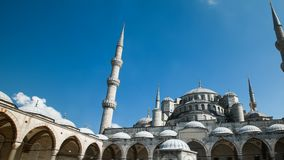 Zoom out timelapse of the blue mosque or sultanahmet outdoors in istanbul city in turkey. Zoom out timelapse of the blue mosque or sultanahmet outdoors with stock footage