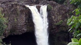 Zoom Out Tropical Waterfall Green Vegetation Hawaii. Tropical Waterfall Hawaii Green Vegetation Zoom Out stock video