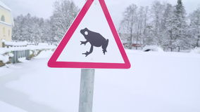 Zoom out view of the frog sign stock footage