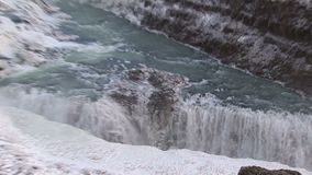 Zoom-out from a waterfall stock video footage