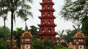 Zoom and Pan,Hanoi,Vietnam,Tran Quoc Temple Pagoda stock video