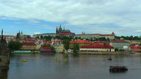 Zoom panorama of the Old Town in Prague stock video footage