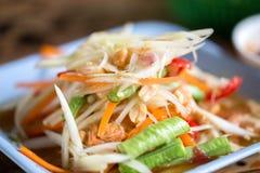 Zoom papaya salad Thailand food call. Papaya salad Thailand food call som tum Thai Stock Photography