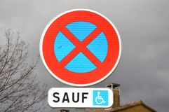 Zoom on a park sign. In france Royalty Free Stock Images