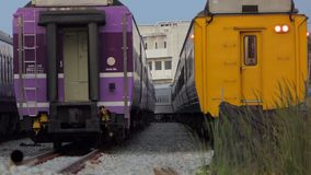 Zoom in of passenger train. stock footage