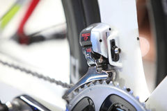 Zoom picture of  electric shift front gear of road bike Stock Image