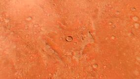 Zoom in from the planet Mars to the human base located in the martian crater. 4k 3d animation