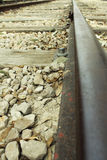 Zoom in on a Railway track (railroad). A photo of zoom in on a Railway track (railroad Stock Images