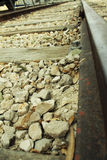 Zoom in on a Railway track (railroad). A photo of zoom in on a Railway track (railroad Royalty Free Stock Image