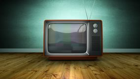Zoom in retro TV screen blur noise, against green wall. Zoom in brown retro TV with antenna and screen blur noise, against green wall indoor with wooden floor stock footage
