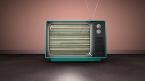 Zoom in retro TV screen blur noise, against pink wall. Zoom animation in anise retro TV screen blur noise, against pink wall indoor stock video