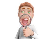 Zoom scientist. Man on a white background, opened his mouth and looks through the magnifying glass royalty free illustration