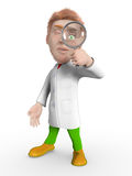 Zoom scientist. Man on a white background looks through the magnifying glass vector illustration