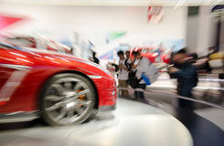 Zoom shoot Chinese visitors to the guangzhou auto  Royalty Free Stock Images