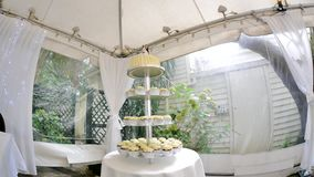 Zoom in shot of a beautiful wedding cake. A zoom in shot of a beautiful wedding caken stock video footage