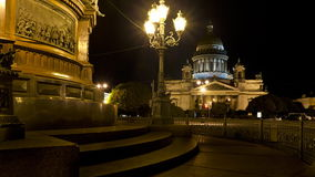 ZOOM St. Isaac's Cathedral at night Royalty Free Stock Images