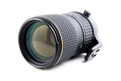 Zoom telephoto lens for slr camera. On a white background Royalty Free Stock Image