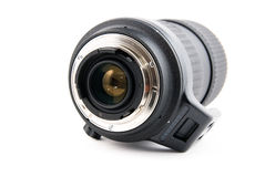 Zoom telephoto lens for slr camera. On a white background Royalty Free Stock Photos