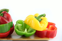 Zoom the Three color of bell pepper in the Bamboo dish. Stock Photo
