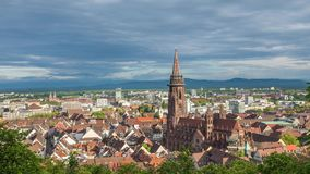 Zoom in time lapse video of Freiburg, Germany