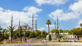 Zoom in timelapse of The Blue Mosque or Sultanahmet outdoors in Istanbul city in Turkey. Zoom in timelapse of The Blue Mosque or Sultanahmet outdoors with moving stock video