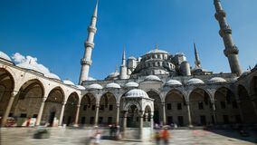 Zoom in timelapse of the blue mosque or sultanahmet outdoors in Istanbul city in Turkey. Zoom in timelapse of the blue mosque or sultanahmet outdoors with moving stock video footage