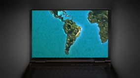 Zoom in to South America map stock footage