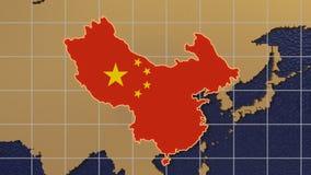 Zoom ut från Kina till det roterande jordklotet stock illustrationer