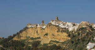 Zoom in view on ancient town Arcos de la Frontera, Spain stock footage