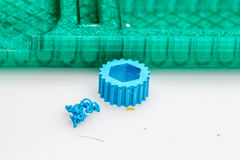 Zoom view on 3D printed models for quality check. Not all 3D printers use the same technology. There are several ways to print and all those available are Stock Photo