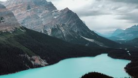 Zoom view at the Peyto Lake in the Canadian Rockies, Icefields Parkway, Canada.