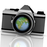 Zoom the World. 3d image Stock Photo