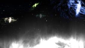Zooma in p? den m?rka stj?rnan Realistisk animering stock illustrationer