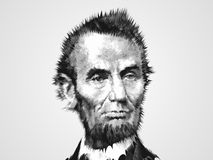 Zoomed Abe. US President Abraham Lincoln portrait Stock Photos