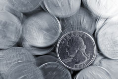 Zoomed Background of Quarters Stock Photography