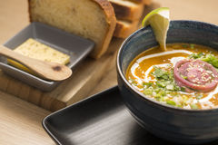 Zoomed bowl with delicious soup Royalty Free Stock Photography