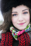 Zoomed face of a cute young woman Royalty Free Stock Images