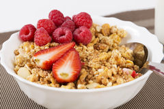 Zoomed halfs of berrie on cereals Royalty Free Stock Photos
