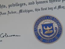 Close up of a diploma from the University of Michigan royalty free stock photo
